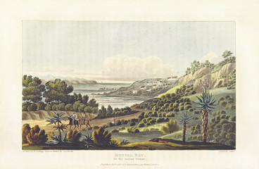 Landscape with hills and sea in background with the horizon line. Mossel Bay, South Africa. By Cocking and Havell after Latrobe, on Journal of a Visit to South Africa, in 1815, and 1816, London 1818
