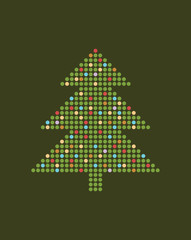 Vector dotted christmas tree.