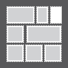 Set of blank postage stamps. Vector Illustration.