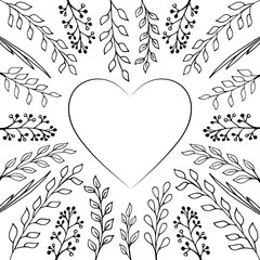 Hand drawn floral elemnts for greeting cards design with heart and blank space for text.