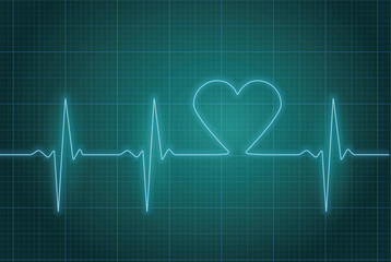 Vector illustration of heart pulse in blue.