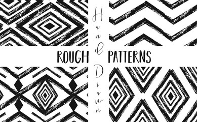 Hand drawn vector abstract graphic rough freehand ink drawing texture seamless patterns collection set isolated on white background
