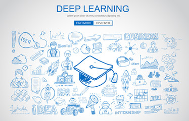 Deep Learning concept with Business Doodle design style: online formation, AI webinar