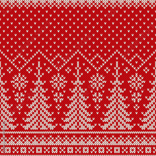Winter Holiday Seamless Knit Pattern With A Christmas Trees And