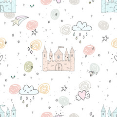 Adorable seamless pattern with castle in cartoon