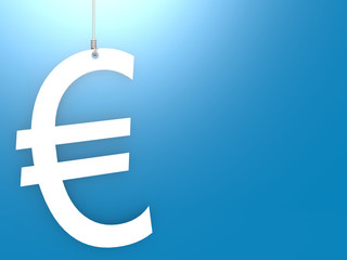 Euro sign hang with blue background