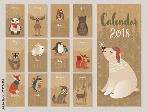 Wall mural Calendar 2018. Cute monthly calendar with forest animals.