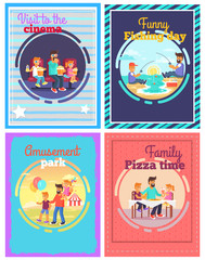 Exciting Day with Cheerful Father Posters Set