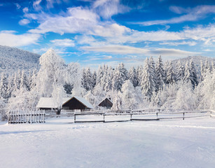 Picturesque winter landscape in the Carpathian village