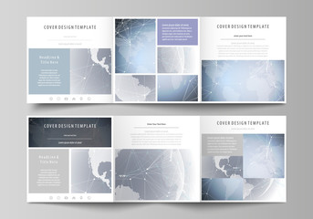 The abstract minimalistic vector illustration of the editable layout. Two creative covers design templates for square brochure. Abstract futuristic network shapes. High tech background.