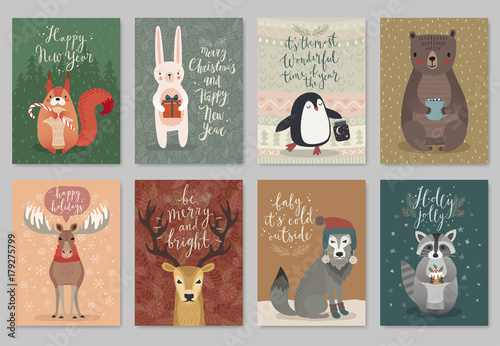 Wall mural Christmas animals card set, hand drawn style.