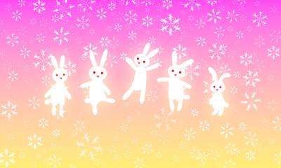 雪の中でウサギのダンス!
