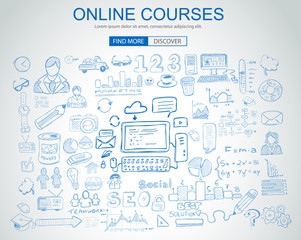 Online Courses concept with Business Doodle design style: online formation, webinars, elearning tips. Modern style illustration for web banners, brochure and flyers.