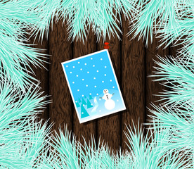 Christmas Card Pinned on Wood with Frosty Fir