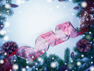 christmas decoration composition with fir branches and snow