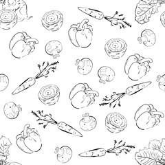 Hand Drawn Vegetables pattern Seamless background.