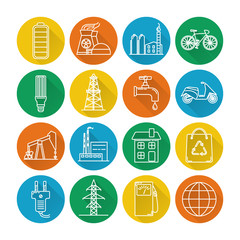 Set of energy and ecology line icons with long shadow