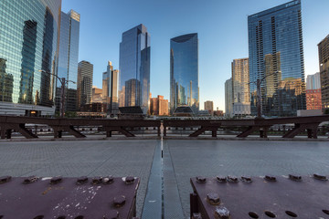 Chicago downtown from bridge during sunset, Chicago, Illinois, USA.