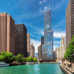 Chicago skyline at sunny day, Illinois, USA.