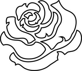 Rose Flower Illustration Flat Outline