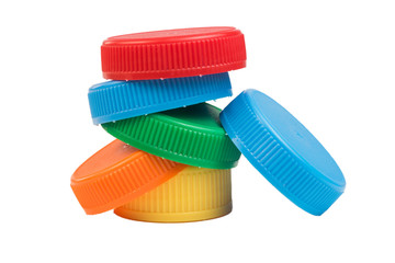 Plastic bottle screw caps isolated on white
