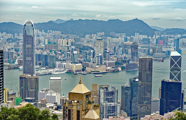 View from Victoria Peak of the Hong Kong city skyline and Victoria Harbour