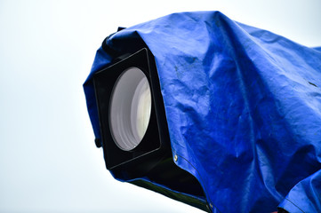 Television news camera with rain cover