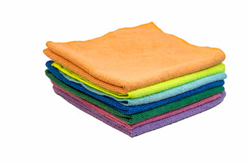 Colorful cleaning rag microfiber cloth isolated on white