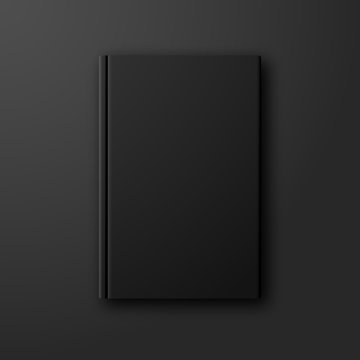 Stylish black book vector mock up on dark black background. Blank black book cover front page template with copyspace for your design.