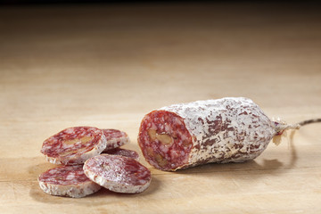 Delicious dry sausage with walnuts