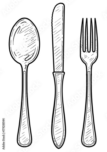 Line Drawing Knife And Fork : Quot fork spoon knife illustration drawing engraving ink