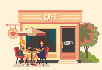 Summer cafe and two girl.