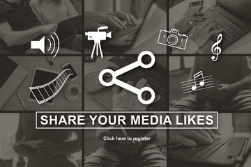 Concept of media likes sharing
