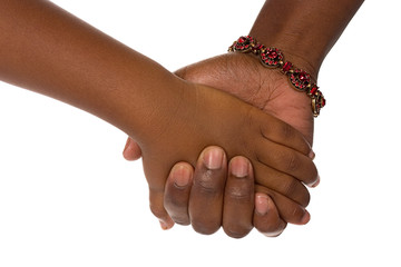 Family: African American Mother And Child Holding Hands