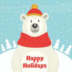 Holiday card with polar bear - vector illustration, eps