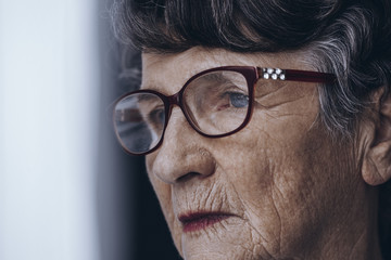 Senior woman's face with wrinkles