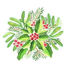 Watercolor Christmas composition of evergreen plants on white background. Mistletoe, fir tree branches, holly berries