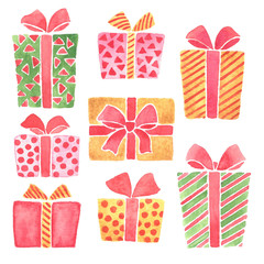 Hand painted watercolor Christmas gifts clip art