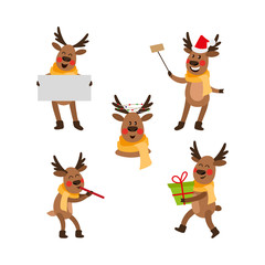 Set of funny Christmas reindeer portraits with flute, empty board, selfie, present box, garland, cartoon vector illustration isolated on white background. Set of cartoon Christmas reindeer characters