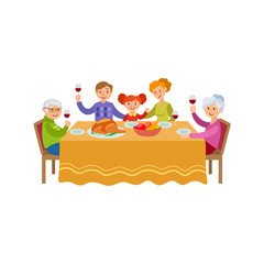vector flat family celebrating christmas holiday at festive table. Father, mother daughter and grandparents eating, drinking and proposing a toast. Isolated illustration on a white background.