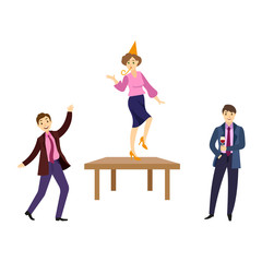 Happy people having fun, dancing on table, drinking at corporate party, cartoon vector illustration isolated on white background. People having corporate party in office, dancing, drinking wine