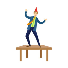 Happy young man, businessman dancing on the table at corporate party in office, flat cartoon vector illustration isolated on white background. Happy smiling man dancing on office at corporate party