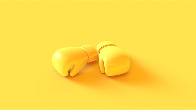 Yellow Boxing Gloves 3d illustration 3d rendering
