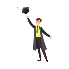 Happy, smiling college student, boy in graduation gown throwing cap up, cartoon vector illustration isolated on white background. Graduating boy throwing his graduation cap up from happiness
