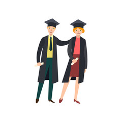 vector flat cartoon male college, university happy graduate character, boy in graduation gown, cap holding diploma hugging girl graduate friend smiling. Isolated illustration on a white background.