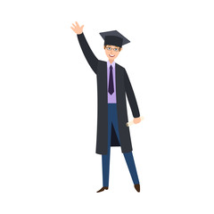 vector flat male college, university happy graduate character, boy in graduation gown, cap necktie holding diploma saying hello waving hand smiling. Isolated illustration on a white background.