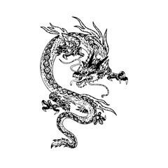 Chinese dragon tattoo, Vector illustration