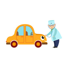 vector flat doctor mechanic, grey-haired man in medical clothing holding stethoscope going to treat smiling yellow car character testing its lungs. Isolated illustration on a white background.