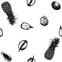 Seamless vector pattern of hand drawn sketch style tropical fruits.