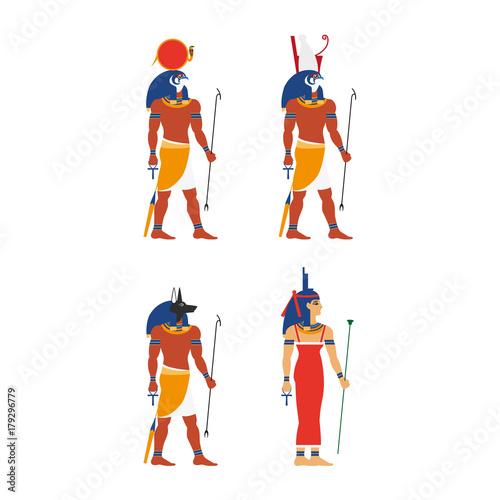 Vector Flat Egypt Gods Goddess Set Anubis Ancient God Of Egypt